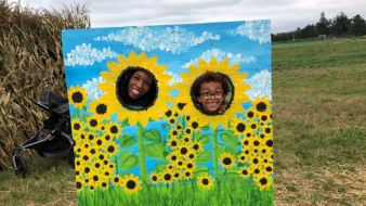 My wife and Mason as sunflowers!